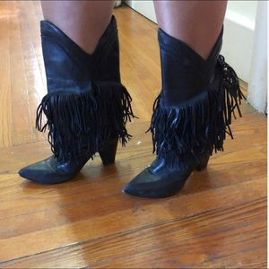 Western leather fringe cowboy boots sz 38 used